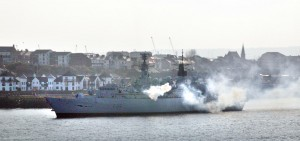 HMS Cumberland fires her salute as she steams downriver (image (c) Neil Wasp i2i Photography)