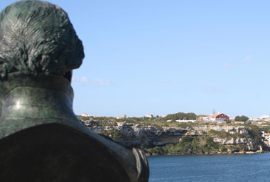The Admiral gazes on his one-time home.