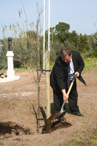 Capt Stephen Healy tips a ceremonial spade of Menorcan soil onto the roots of one of the newly-planted English Oaks (Collingwood bust in the background).